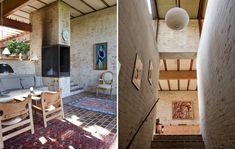 Husets anden pejs findes i stuen i forældrenes afdeling. Til højre ses den smalle trappe, der fø...