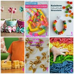 Craft Activities For Kids, Diy And Crafts, Crafts For Kids, Pasta Crafts, Easy Art For Kids, Montessori, Glitter Crafts, Rainbow Painting, Crafty Kids