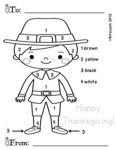 """A fun and simple """"Color by Number"""" page for Thanksgiving"""