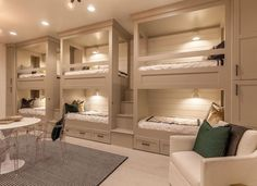 design of kids bunk beds is very effective for your tiny house bed design of kid Home, Home Bedroom, Rustic Lake Houses, Beige Room, Sleepover Room, Modern Lake House, Lakehouse Bedroom, Bunk Bed Rooms, Bunk Beds Built In