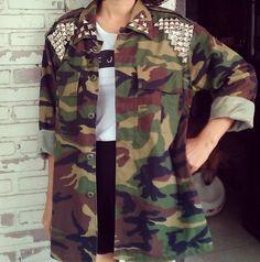 Vintage DIY Studded Military Camo Jacket | KodChaPhorn