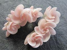 seashell flowers | PINK SHELL FLOWER Large Vintage Clip EARRINGS | Seashells