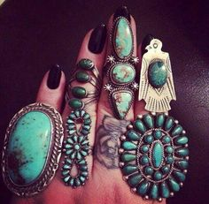 ☮ American Hippie Bohéme Boho Style Jewelry ☮ Turquoise Rings
