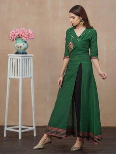 Placement Embroidered Kurti with Pant Set - Bottle Green - Fashor Tunic Designs, Kurta Designs Women, Dress Neck Designs, Pakistani Fashion Casual, Pakistani Dress Design, Pola Lengan, A Line Kurti, Kurta Patterns, Kurti Embroidery Design