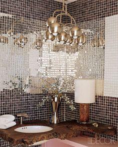 I want a disco ball bathroom; disco balls & all (via Wall Treatment Design Ideas - Modern Wall Treatments - ELLE DECOR) Mirror Backsplash, Mirror Mosaic, Mirror Tiles, Herringbone Backsplash, Glass Tiles, Mirror Mirror, Mosaic Bathroom, Bathroom Wall, Wall Tiles