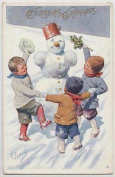 POSTCARD - Feiertag, boys in snow dance around snowman, christmas greetings