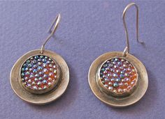 Sterling silver earrings with bumpy glass by CindyTurnerDesigns, $85.00