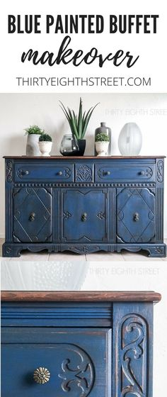Blue painted furniture inspiration for your next DIY painted furniture project! Stunning furniture makeovers in bold blue paint colors! | Thirty Eighth Street