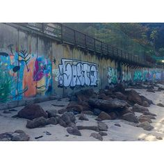 Street art on the beach at Leblon in Rio de Janeiro in July #streetartandgraffiti #streetart #streetarteverywhere #graffiti #leblon #beach #leblonbeach #rio #riodejaneiro #brazil #oficialrio #instario #southamerica #discoversouthamerica #ig_southamerica #