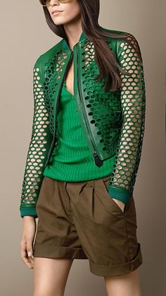 Would be awesome in black: Burberry Brit Bonded Leather Laser-Cut Bomber Jacket
