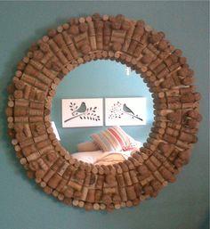 Wine cork mirror