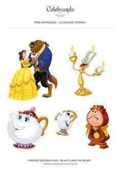 Gratis! Toppers para cupcakes La bella y la bestia - Beauty and the Beast Free - Celebrando Fiestas