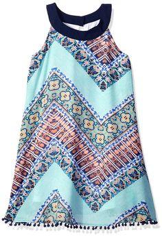 My Michelle Big Girls' a Line Printed Chevron Dress with Round Neckline Pom Trim on Hem, Green, 14. Printed chevron dress. Pom pom trim.