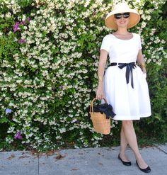 May 24, 2013 http://www.akeytothearmoire.com/post/51221855950/its-my-birthday #white #black #straw hat #yellow topaz earrings #Nantucket basket #patent flats #ribbon belt #scoop neck #Ralph Lauren #Polo #Isaac Mizrahi #Talbots #pierced cuff bracelet #chic #romantic
