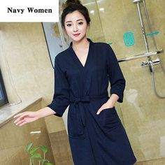 37206d287a Women Summer Sexy Bath Robe Kimono Waffle Bathrobe Femme Peignoir Cotton  Towel Nightgowns Bridesmaid Robes Wedding Dressing Gown