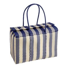 Kitchen World, Picnic Bag, Picnic Baskets, Outdoor Supplies, Striped Bags, Lunch Tote, World Market, Reusable Bags, Navy And White