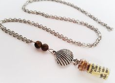 Long charm necklace with quote in a bottle. Tigers by totesBOHO Tigers Eye Necklace, Long Silver Necklace, Shell Necklaces, Shells, Beaded Bracelets, Charmed, Quote, Jewellery, Trending Outfits