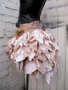 Tattered Pixie Forest Fairy, Nymph, Woodland bustle skirt. Tea dyed by myself in nude/beige/cream in organic tea- preserved and washed cotton fabric - Vegan Friendly. Bustle skirt / Overskirt- handmade in the UK. | eBay!