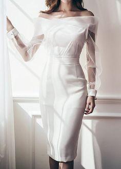 Mesh Panel Back Slit White Sheath Dress Elegant Dresses, Beautiful Dresses, Casual Dresses, Short Dresses, Fashion Dresses, White Sheath Dress, Club Party Dresses, Club Outfits For Women, Wedding Attire