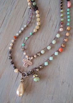 Colorato all'uncinetto lunga collana di avvolgere 'Bohemian Voyager - Negril' artigianale argento multi color perla croce regalo festa della mamma, OOAK