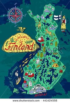 Art Print: Illustrated Map of Finland. Travels by Daria_I : Finland Map, Finland Travel, Travel Maps, Travel Posters, Travel Destinations, Visual Map, Country Maps, Travel Illustration, Thinking Day