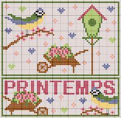 Printemps - Spring Cross Stitch Pattern with Birds Cross Stitch Needles, Cross Stitch Bird, Cross Stitch Samplers, Cross Stitch Animals, Cross Stitch Charts, Counted Cross Stitch Patterns, Cross Stitch Designs, Cross Stitching, Cross Stitch Embroidery