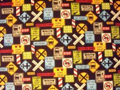 This is a cute Print of Train Signs of all types - everything you can think of is on this fabric - it goes with Trains Series Prints, which we have in Light Blue in Our Store. This fabric is Out of Print and we only a very small amount left. This is a really nice quilting quality fabric - the color is fantastic. Use it alone or with one of both of the other prints from the Series. It really does blend well with other prints given its gorgeous color scheme (much better in person than looking…