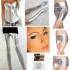 Shiny Silver Lamé Halloween Costume Pieces - Tin Man, Silver Surfer, Robot, Space Girl, etc! - Makeup, Leggings, Corsets, Gloves, Shorts, Skirt, Wigs