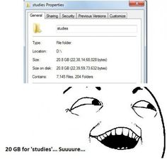 "20 GB of ""Studies"", must be very hard working"