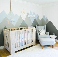 Modern Nursery With Mountain Mural   Melissa Jill Photography. Newborn  Lifestyle Photos Of Baby ...