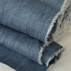 Mid Blue Crushed Linen
