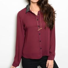 NWT Blouse w/ Faux Leather Collar NWT slightly sheer burgundy blouse with black faux leather collar. Long sleeves with cut out in the back. Very classy! Size SMALL. Tops