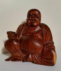 Fantastic Vintage Hand Carved Wooden Statue Of Laughing Buddha, Hand Carved Wooden Laughing Buddha Figure, Seated Wooden Laughing Buddha by OnyxCollectables on Etsy