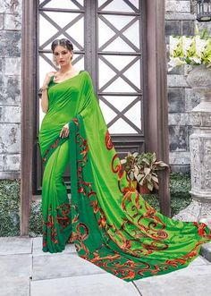 IVIMAL GREEN MIX WITH RED SHADE COLORED PURE GEORGETTE REGULAR SAREE - 815