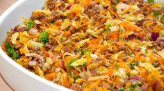 Hakket oksekød med spidskål steges i et ovnfast fad i ovnen, og er en nem ret, som alle kan lide. Foto: Guffeliguf.dk.