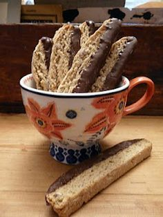 This is the best biscotti I've made to date.  I didn't include the pecans (didn't have any on hand) or dip them in chocolate (didn't have that on hand either), but I did add about a quarter cup of mini dark chocolate chips.  Delicious.