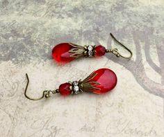 Red Earrings Ruby Earrings Ruby Red Earrings Siam Jewelry