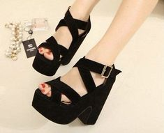 Chunky High Heels, Black High Heels, Black Sandals, Shoe Boots, Shoes Heels, Kawaii Shoes, Womens Summer Shoes, Prom Heels, Cheap Shoes Online