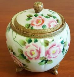 Theme for Merle's Vintage Food Instagram Challenge is biscuits today so I offered up this antique Nippon biscuit jar. Such pretty pink roses! Yes, this piece is in my eBay store.  #Nippon #biscuits #cookies #roses #antiques #ShopOneBay Vintage Food, Vintage Recipes, Vintage Gifts, Vintage Items, Instagram Challenge, Food Instagram, Pink Roses, Special Gifts, Gifts For Mom