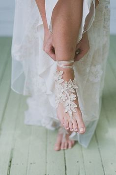 Champagne gold french lace sandals wedding anklet by WEDDINGGloves