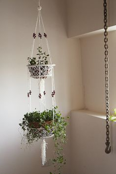 Macrame pot plant hanging basket with red bead by block5store