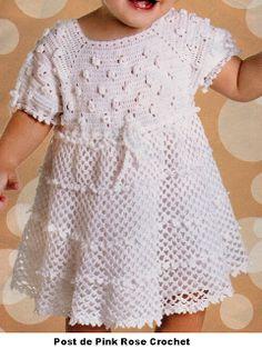 \ PINK ROSE CROCHET /: Vestido Branco Lindo de Crochê para Meninas