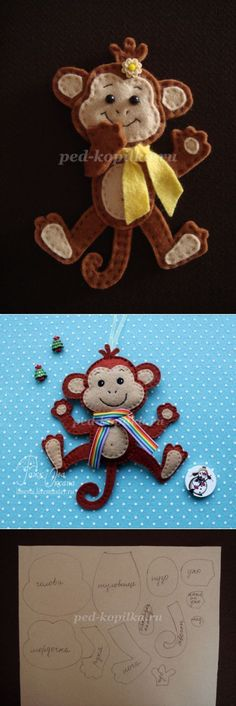 Christmas toy - monkey made of felt with their hands. Master class with step by step photos