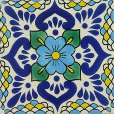Our decorative, patterned Especial Tile is a hand-made and hand-painted high-fired ceramic tile carefully made by craftsman families in Mexico. The clays and th