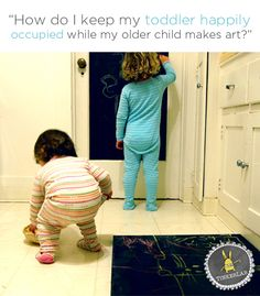 Lots of good ideas here! How do I keep my toddler happily occupied while my older child makes art?  |  TinkerLab.com Fun Activities For Kids, Preschool Activities, Games For Kids, Art For Kids, Activity Ideas, Toddler Play, Toddler Preschool, Toddler Crafts, Kid Crafts