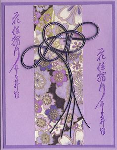 handmade card ... Asian theme ... mizuhiki knot ... Japanes paper ... lavender and purple ... delightful card!
