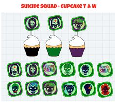Suicide Squad Cupcake Toppers and wrappers, Joker and Harley Quinn Cupcake Toppers and wrappers  Check out this item in my Etsy shop https://www.etsy.com/listing/506994485/suicide-squad-cupcake-toppers-suicide