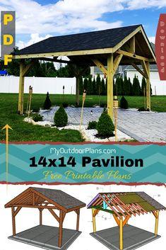Outdoor Pavilion, Outdoor Gazebos, Patio Gazebo, Diy Patio, Backyard Landscaping, Outdoor Structures, Gazebo Plans, Diy Shed, Outdoor Projects