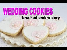 WEDDING COOKIES, BRUSHED EMBROIDERY, HANIELA'S - YouTube