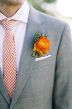 REVEL: gray suit & Orange Groom's Tie, groomsmen with purple to match the maids